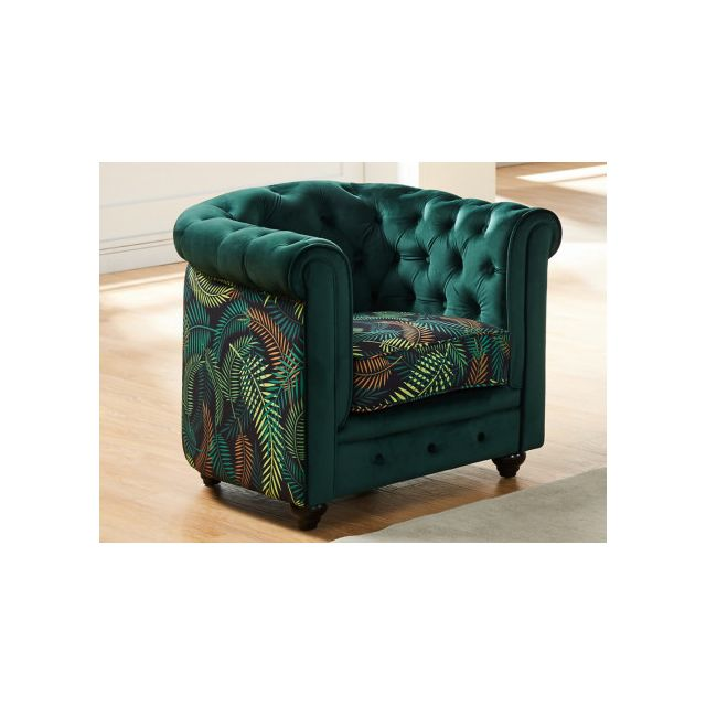 marque generique fauteuil chesterfield velours vert et tissu imprim tropical sebpeche31. Black Bedroom Furniture Sets. Home Design Ideas
