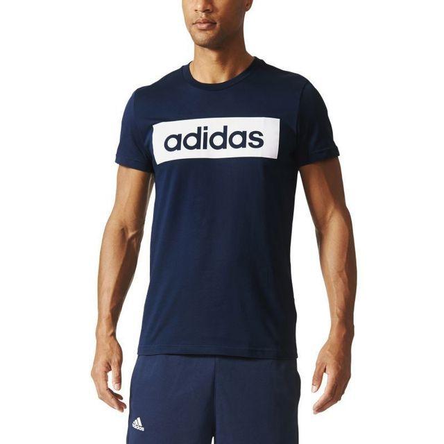 Adidas Tee shirt sport essentials linear Bleu pas cher
