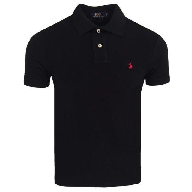 d88185bcf0e Ralph Lauren - Polo slim fit Polo A14 noir et Rouge - pas cher Achat    Vente Polo homme - RueDuCommerce