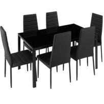 Set Table A Manger 6 Chaises De Salle A Manger Structure En Acier Noir