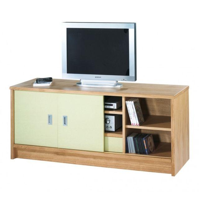 Beaux Meubles Pas Chers Meuble Tv 2 Portes Chêne Façade Couleur - Coloris: Vert Olive