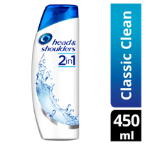 HEAD & SHOULDERS - Classic Shampooing Antipelliculaire 2en1 - flacon de 450 ml