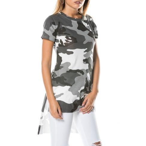 58b05b5730b Princesse Boutique - Tee-shirt asymétrique Gris militaire - pas cher ...