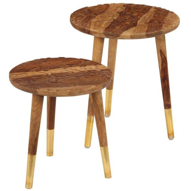 Vidaxl 2x Bois de Sesham Massif Table Basse Table de Salon Mobilier Séjour