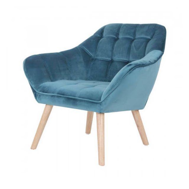 Mathi Design Sames - Fauteuil en velours bleu et pieds bois