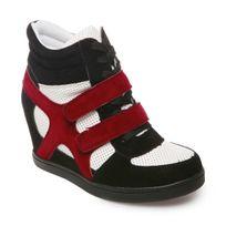 Lamodeuse - Baskets compensées noir et rouge bi-matière