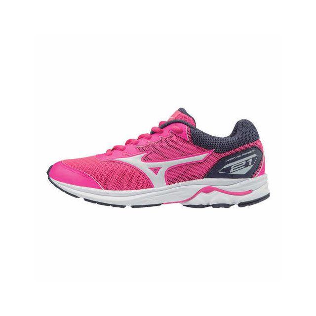 sale retailer 24539 6c238 Mizuno - Chaussures Wave Rider 21 rose blanc gris enfant - pas cher Achat    Vente Chaussures athlétisme - RueDuCommerce
