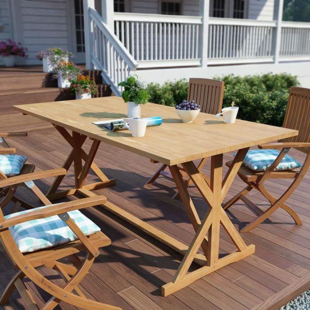 Table de salle à manger d\'extérieur Teck massif 180x90x75 cm | Brun -  Meubles de jardin - Tables d\'extérieur | Brun | Brun