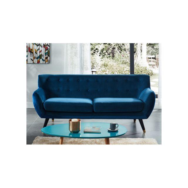 marque generique canap 3 places en velours serti bleu. Black Bedroom Furniture Sets. Home Design Ideas
