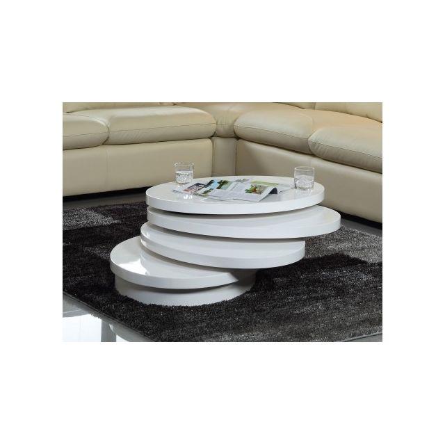 Vente-unique Table basse pivotante ovale Circus - Mdf laqué - Blanc