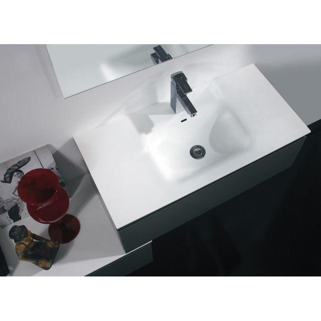 Planetebain - Meubles de salle de bain gain de place forme escalier blanc brillant très moderne