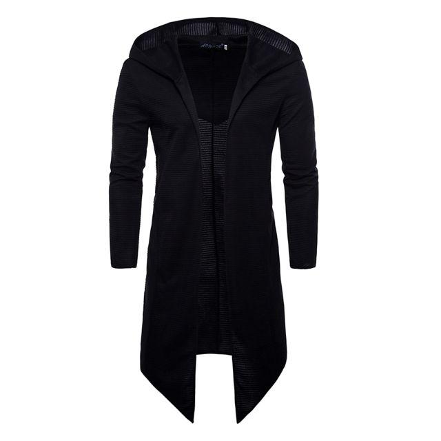 >Cardigan à capuche long à manches longues et ouvert à capuche pour homme