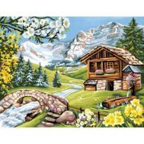 L'Art et la Manière - L'ART Et La ManiÈRE Peinture Au NumÉRO Motif Aplages Fleuris 30 X 40 Cm Couleurs Assorties
