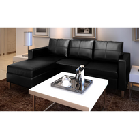 Vidaxl - Canapé d'angle 3 places modulable en cuir artificiel noir