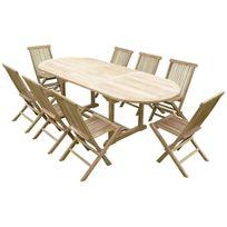 Teck'LINE - Ensemble de jardin en teck premium Milana 8 chaises Jenae
