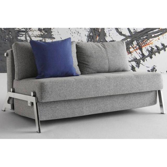 Inside 75 Canapé lit design Cubed Chrome gris Twist Granite convertible 200 140 cm