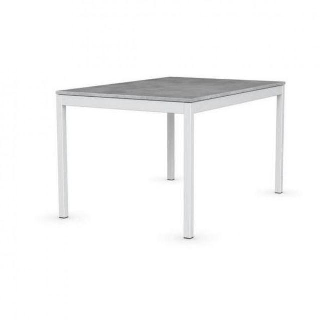 Inside 75 Table extensible Snap gris béton piétement laqué blanc 120x80 cm