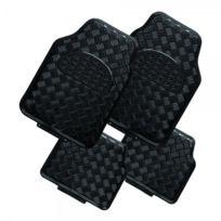 Peraline - Tapis de sol de voiture style alu - noir - set de 4