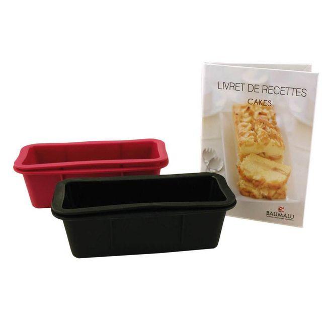 Baumalu Moule à cake en silicone 14.3x13x6.4 cm + livre de recettes - Lot de 4 Patiss