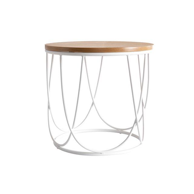 Miliboo Table d'appoint bois et métal blanc D42 x H40 cm Lace - & Stéphane Plaza