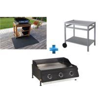 GARDEN MAX - Plancha gaz 3 brûleurs à poser + Desserte roulante + Tapis pour planchas et barbecues gaz et électriques