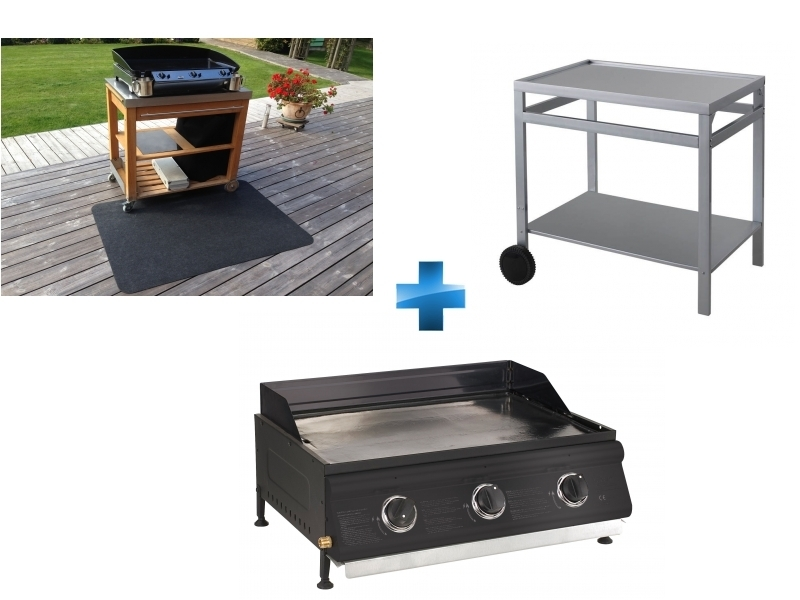 Plancha gaz 3 brûleurs à poser + Desserte roulante + Tapis pour planchas et barbecues gaz et électriques
