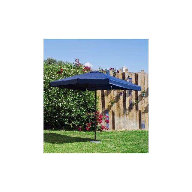 Hevea Grand Parasol De Jardin Carac en Aluminium Mat Gris Fonce Toile Bleue Hev12529