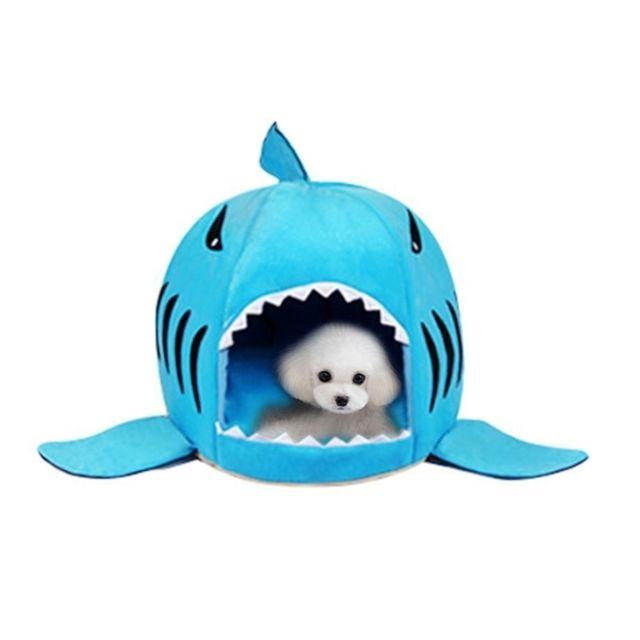 Wewoo Chien de compagnie d'intérieur chiot bleu chat maison chaude requins animaux lit de couchage nid, taille m: 50x50x48cm