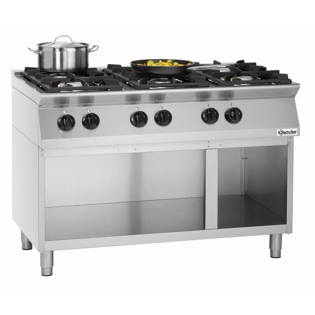 Bartscher Cuisiniere 6 feux Mfgo 7060 avec soubassement ouvert