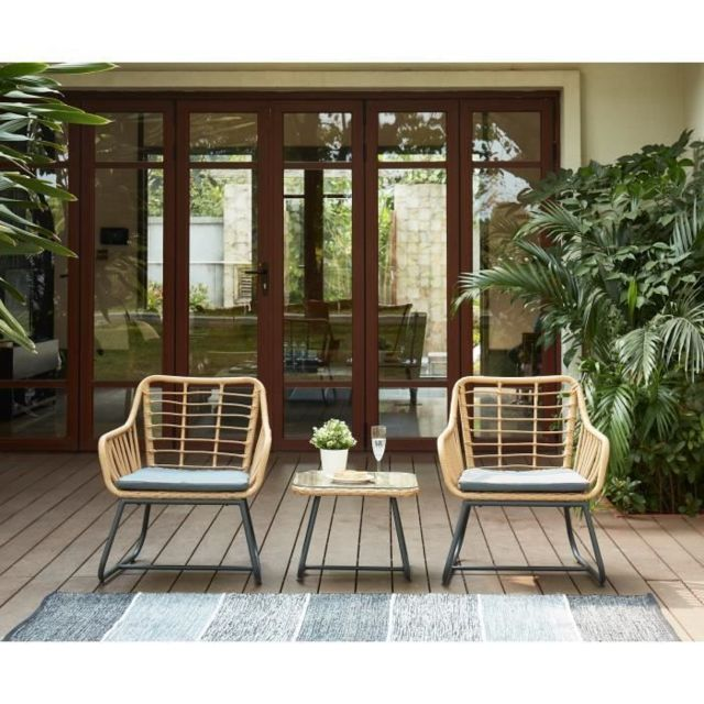 Salon De Jardin - Ensemble Table Chaise Fauteuil De Jardin Cap Salon de  jardin 2 places en résine imitation rotin avec 2 fauteuils coussins gris +  ...