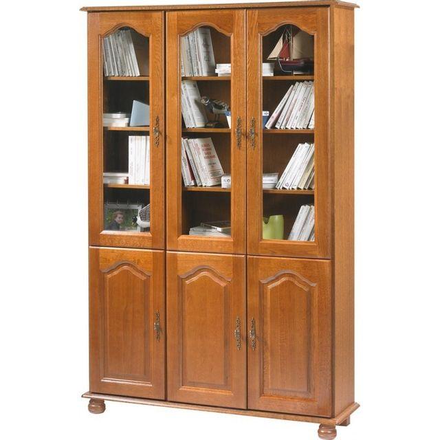 Beaux Meubles Pas Chers - Bibliothèque Chêne 6 Portes Largeur 120 cm ... 42aed45ea65f