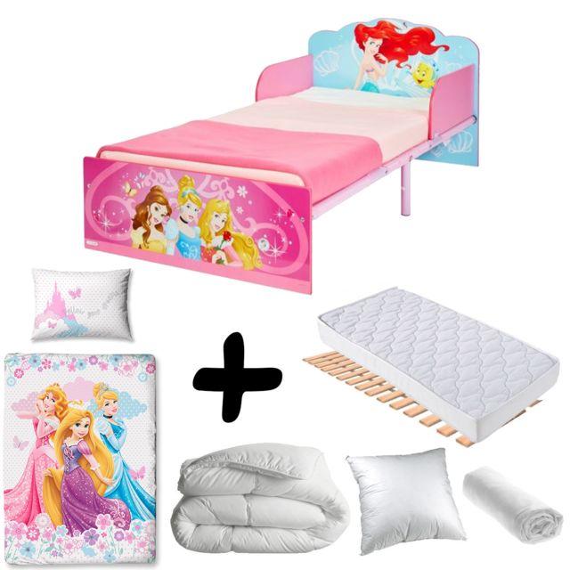 Bebe Gavroche Pack complet Premium Lit Bois et Metal Princesses= Lit+Matelas & Parure+Couette+Oreiller