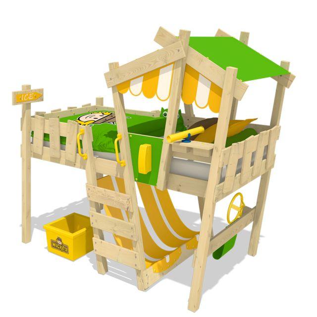 WICKEY Lit mezzanine en bois CrazY Hutty Lit simple en bois pour enfant