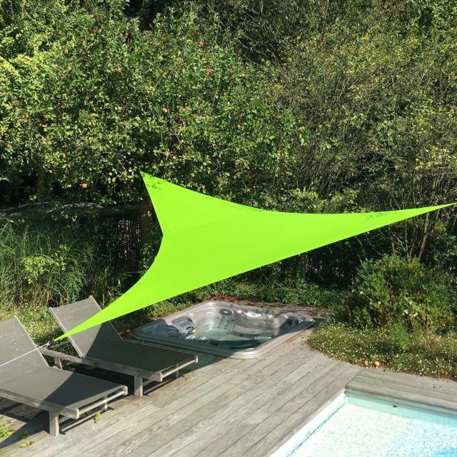 Alice'S Garden Voile d'ombrage triangulaire extensible Easywind 3,6 x 3,6 x 3,6m - vert - Anti Uv Upf 50