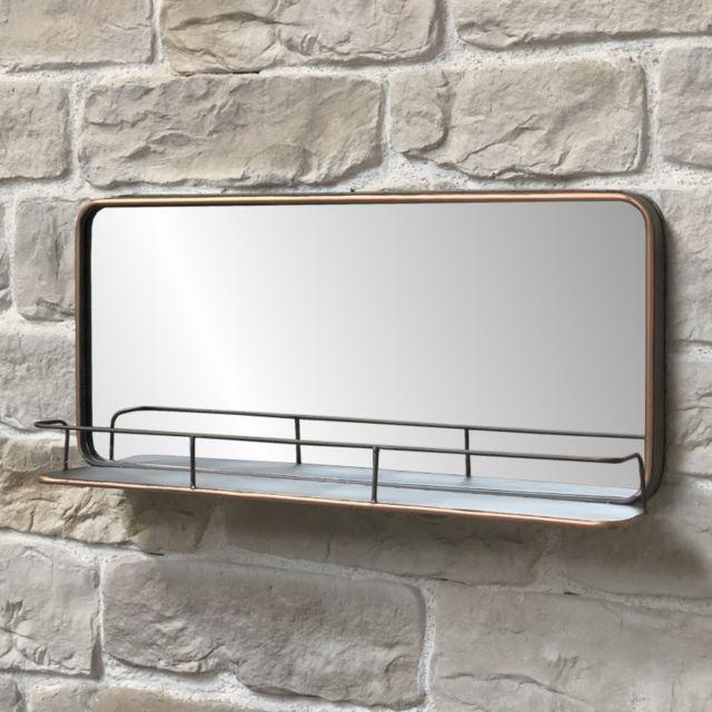 Chemin De Campagne Miroir Industriel Tablette Étagère Mural Fer 91 cm x 40.50 cm x 13 cm