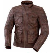 Ixs - blouson veste moto Nick cuir homme vintage été marron Promo 56