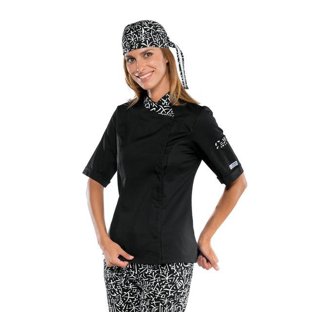 isacco veste cuisine japonaise manches courtes pour femme noir pas cher achat vente. Black Bedroom Furniture Sets. Home Design Ideas