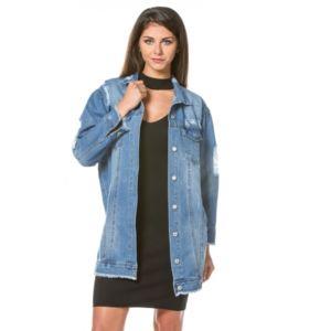 princesse boutique veste en jean longue bleu pas cher achat vente blouson femme. Black Bedroom Furniture Sets. Home Design Ideas