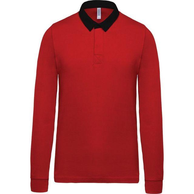 aa4c4955dbeb3 Kariban - Polo rugby enfant mixte - K214 - rouge et noir - pas cher ...