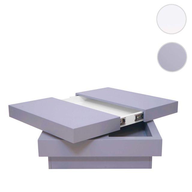 Mendler Table basse de salon Hwc-g83, extensible, pivotante, 30x70x70cm ~ gris terne