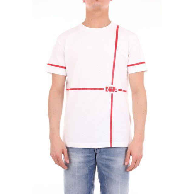 Rta Homme Mf89425LINWHITE Blanc Coton T-shirt