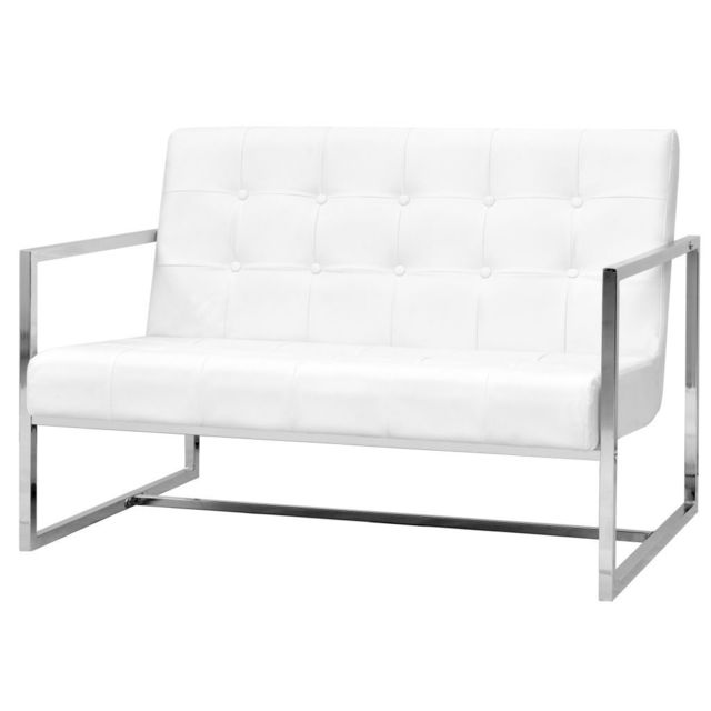 Contemporain Meubles collection Freetown Sofa à 2 places avec accoudoirs Cuir artificiel et acier Blanc