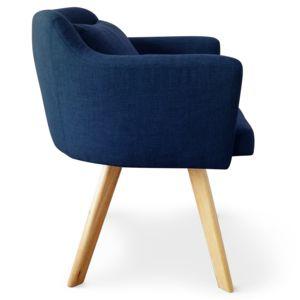 COTE COSY Chaise Fauteuil Scandinave DONA Tissu Bleu Pas Cher - Chaises fauteuil scandinaves