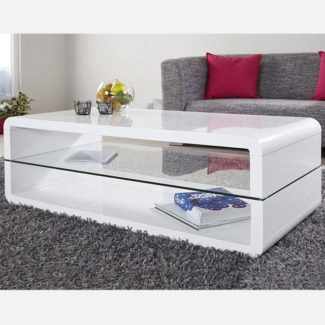 Nouvomeuble Table basse design blanche Leandre