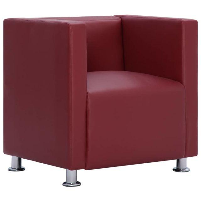 Icaverne - Fauteuils gamme Fauteuil cube Rouge bordeaux Similicuir