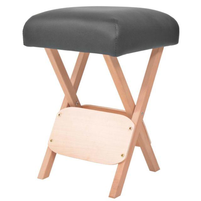 Icaverne - Fauteuils de massage gamme Tabouret de massage siège 12 cm d'épaisseur 2 traversins Noir