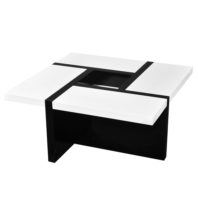 Vidaxl Table basse coloris blanc/noir brillant