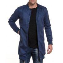 BLZ Jeans - Veste homme longue bleu effet daim à poches