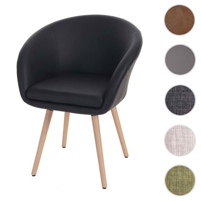 Mendler Chaise de salle à manger Malmö T633, fauteuil, design rétro des années 50 ~ similicuir, noir