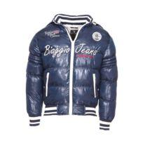 Biaggio - Doudoune à capuche amovible bleu marine brodée